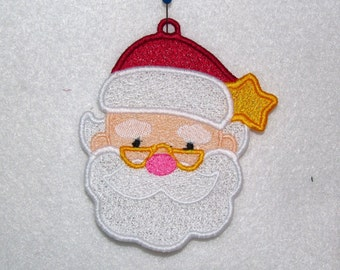 Machine Embroidery Design-FSL-Santa Ornament for 4x4 Hoop.