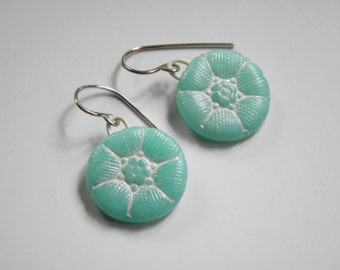 Vintage Button Design Beeswax Clay Earrings- dangle disk earrings-eco earrings