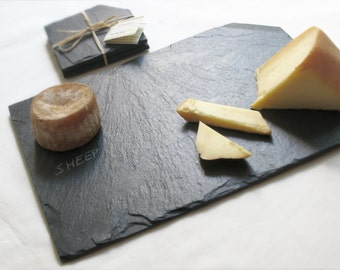 NEW! Set of 2 COASTERS & Med/LG Cheese Board—Blue Black Balvaged Slate with Eco-Backing—Housewarming, Wedding Registry, Holiday-Host Gift