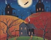 "Creepy Hollow Folk Art Print Large Size 11"" x 14"" or 12"" x 16"""