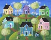 "Summerview Hills Folk Art Print Large Size 11"" x 14"" or 12"" x 16"""