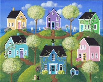 "Summerview Hills Folk Art Print Large Size 11"" x 14"" or 12"" x 16"""