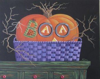 Peek-A-Boo!  Halloween ORIGINAL Folk Art Painting FREE Shipping