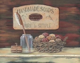 Bath Wall Decor,Vintage Bath,Country Bath, Primitive Bath,Handmade Soaps,14x11,Pam Britton