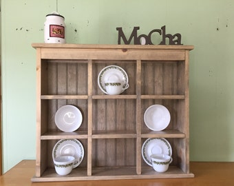 Tea Cup and Saucer Plate Rack and Kitchen Display Shelf 9 Section Holder & Primitive Country Shelf and Plate Rack Unfinished 42
