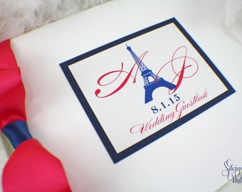 Paris Guest book | Eiffel tower | Guestbook | Monogram guestbook | Personalized | Custom | Hydrangeas | Orchids | Custom guestbook