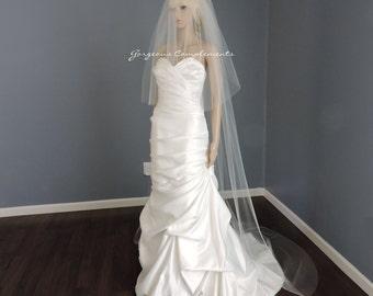 Wedding Veil Chapel Double Tier Cut Edge Standard Width 72, Bridal Veil