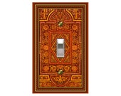 0779b   Medieval Orange Bkgd Pattern  mrs butler switchplate  (Choose size/price from dropdown)