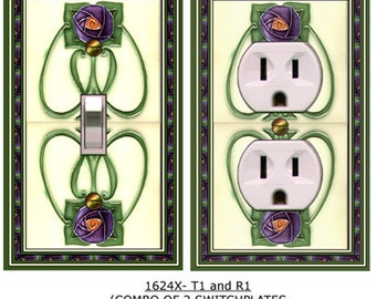 1624x COMBO of 2 Art Deco Purple & Green Roses Tile  mrs butler switchplates  (can be purchased separately)