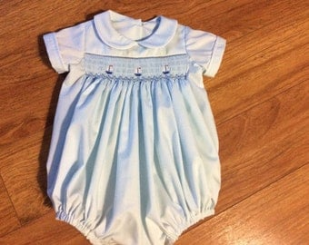 Baby Boy's Hand Smocked Bubble - Sz 3m