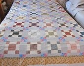 "Large quilt top, unfinished patchwork, floral patchwork, cotton quilt topper, OOAK quilt top, 9 patch variation, 88"" x 82"""