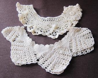 2 vintage handmade collars, two, 1940s  ecru cotton, delightful,