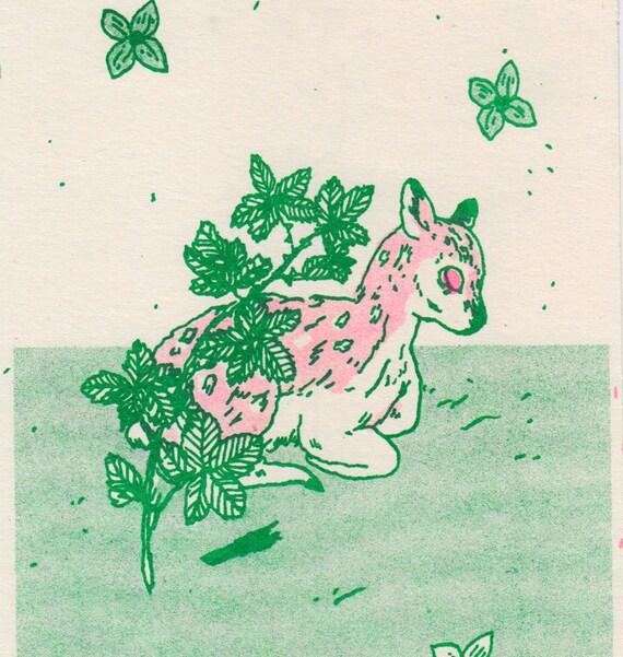 Blackberry Deer Risograph Print