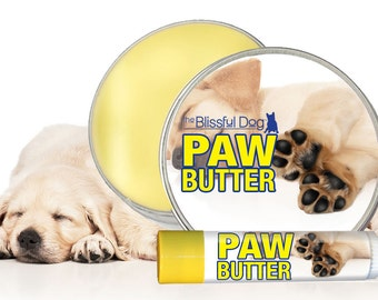 Dog PAW BUTTER Combo All Natural Handcrafted Moisturizing Herbal Salve for Your Dog's Dry, Rough Paw Pads 2 oz. Tin and .15 oz Tube