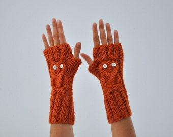 Owl Gloves Fingerless Gloves Winter Arm Warmers Brick Burnt Orange Hand Knit Harvest Autumn Fashion