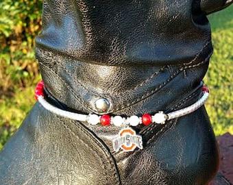 Ohio State Buckeyes Boot Bracelet - with NCAA Dangle Charm, Boot Chain