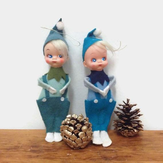 Vintage Pixie Elf Christmas Ornaments - Set of Two - Small Felt Boy Elves - Japan