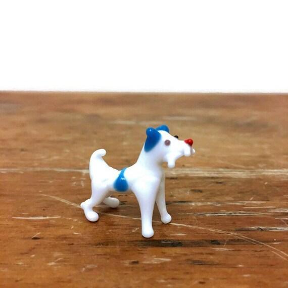 Vintage Blown Glass Dog - Miniature Glass Animal - White & Blue Dog Figurine