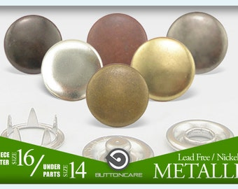 Size 16 10mm   Capped Metal Snaps Studs