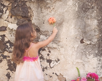 Girls dress - Strappy Pocket Dress with Quote - Birds, Sunset, Feather Design - by bitty bambu
