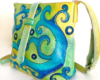 Handpainted Crossbody Bag, faux leather cross body shoulder bag by Ethnocity, vegan leather,  ocean blue messenger bag