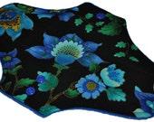 Moderate Core- Peacock Floral Reusable Cloth Maxi Pad- WindPro Fleece 10 Inches (25.5 cm)