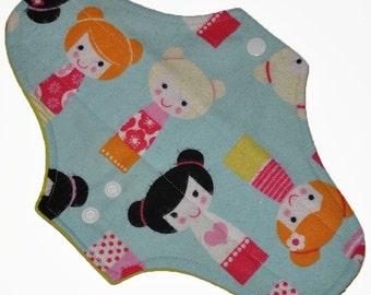 Moderate Hemp Core- Geisha Dolls Flannel Reusable Cloth Maxi Pad- WindPro Fleece- 10 Inches (25.5 cm)