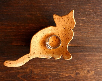 Cute Handmade Speckled Ivory Stoneware CAT-Shaped Ring Dish