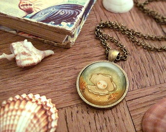 Oyster Necklace, Oyster Pendant, Oyster Jewelry, Nautical Necklace, Pearl, Animal Art, Animal Jewelry, Kids Jewelry Children - Little Oyster