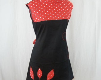 Dress Kyriu red and black with dots