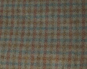 Reddish-Brown, Gold-Brown, Green-Blue,Khaki Green Small Plaid Felted Wool Fabric 00% Wool Perfect for Rug Hooking, Quilting, Wool Applique