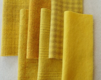 Canary - Yellow - Hand Dyed Felted 100% Wool Fabric Perfect for Rug Hooking, Quilting, Applique, and Sewing, by Quilting Acres