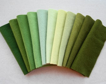 Green Hand Dyed Felted Wool Fabric in a Wonderful Green Combination Perfect for Rug Hooking, Wool Applique, Quilting, and Sewing