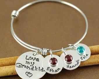 ON SALE Grandma Bangle Bracelet, Hand Stamped Bangle Bracelet, Adjustable Bangle Bracelet, Personalized bracelet, Charm Bracelet, Grandkids