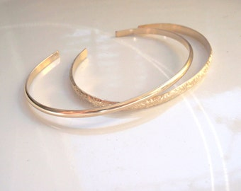 Gold Pattern Cuff Bracelet Handmade 14k Gold Filled Over 7 inches