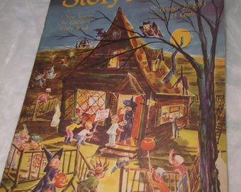 STORY-A-DAY Magazine Oct 29 1953 Color HALLOWEEN Cover Winnifred Farnum ephemera Vintage trick or treat ephemera