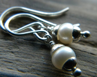 June birthday - Petite white freshwater pearl earrings - bright sterling silver handmade jewelry - June birthstone