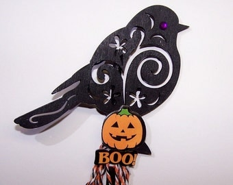 Raven, Set of 2, SALE, Halloween, Pumpkin, Black, Spooky, Plant Stake, Embellishment, Party Decor, Holiday Decor, Trick or Treat, Orange