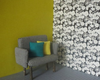 1/12 Scale Downloadable Printable Dollhouse Black and White Flower Wallpaper
