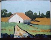 Impressionist Painting CALIFORNIA Plein Air Farm Barn Field Landscape Art 18 x 24 Lynne French