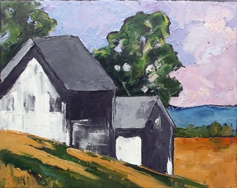 Impressionist California North Coast Farm Barns Plein Air Landscape Oil Painting Original Art Lynne French 11x14