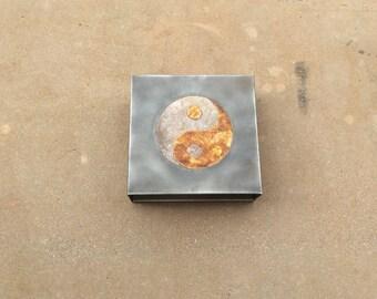 Yin + Yang // steel + mica light sconce