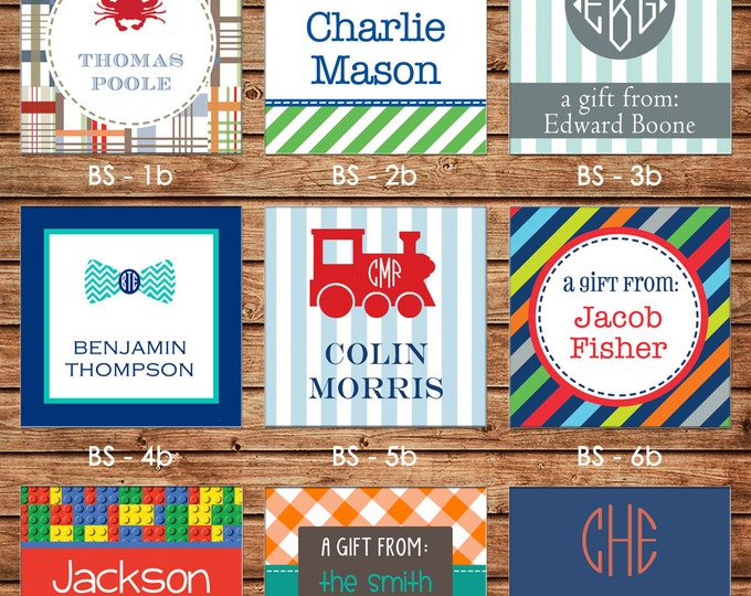 24 Printed Boy Square Square Gift Tags Enclosure Cards Stickers - Can personalize - Choose ONE design