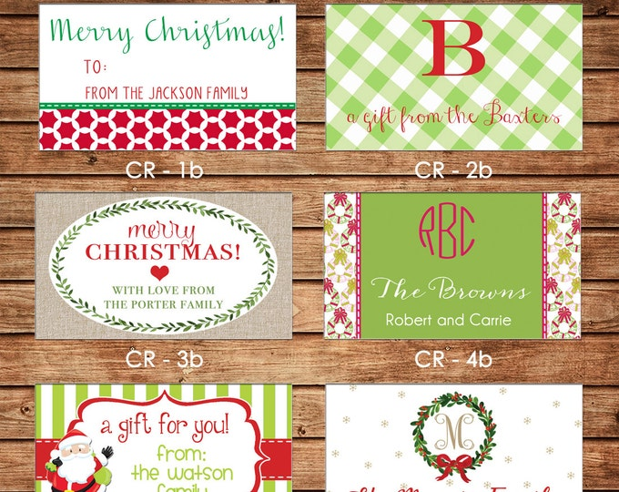 New Designs - 20 Rectangle Personalized Christmas Enclosure Cards or Gift Stickers - Choose ONE DESIGN