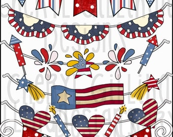 Americana Banners Clipart Collection - Immediate Download