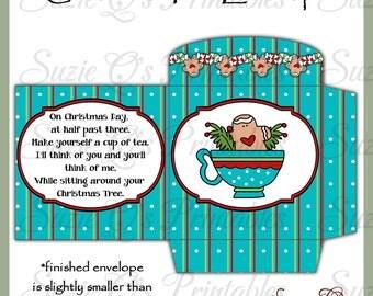 Christmas Tea Envelopes - US and International Size Sheets - Digital Printable - Immediate Download