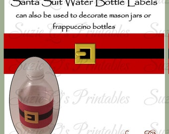 Santa Suit Water Bottle labels - Dgital Printable - Immediate Download
