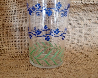 Swanky Swig Juice Glass Vintage Blue Bachelor Button  Floral Flowers