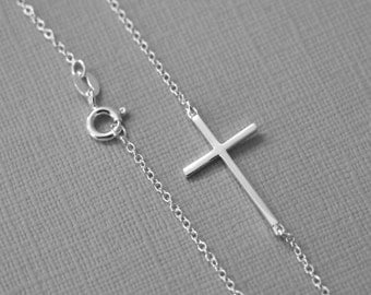 Sterling Silver Sideways Cross Necklace, Cross Necklace, Confirmation Gift, Baptism Gift Confirmation Necklace Gift for Her Baptism Necklace