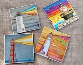 TILE DRINK COASTERS - Set of 4 - Lighthouses Lighthouse beach art home decor coastal summer housewarming hostess gift mothers day ceramic